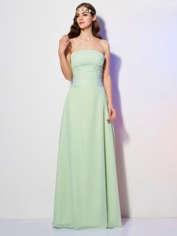 A-Line/Princess Strapless Sleeveless Pleats Floor-Length Chiffon Dresses