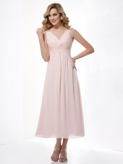 A-Line/Princess V-neck Sleeveless Pleats Tea-Length Chiffon Dresses