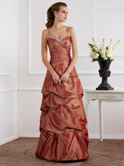 Sheath/Column Spaghetti Straps Sleeveless Beading Floor-Length Taffeta Dresses