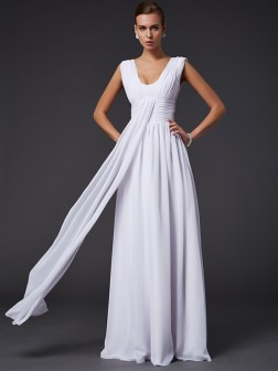 A-Line/Princess Jewel Sleeveless Pleats Floor-Length Chiffon Dresses