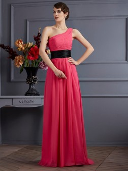 A-Line/Princess One-Shoulder Sleeveless Pleats Sweep/Brush Train Chiffon Dresses