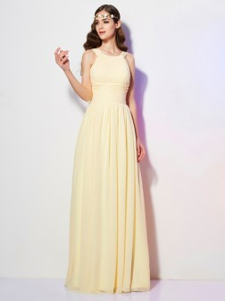 A-Line/Princess Bateau Sleeveless Pleats Floor-Length Chiffon Dresses