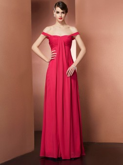 A-Line/Princess Off the Shoulder Sleeveless Beading Floor-Length Chiffon Dresses