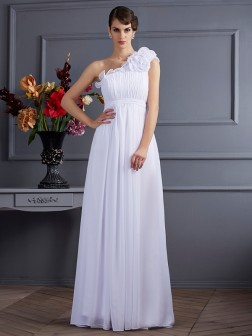 A-Line/Princess One-Shoulder Sleeveless Pleats Applique Floor-Length Chiffon Dresses