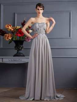 A-Line/Princess Sweetheart Sleeveless Beading Pleats Sweep/Brush Train Chiffon Dresses