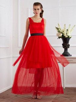 A-Line/Princess Straps Sleeveless Pleats Ankle-Length Elastic Woven Satin Dresses