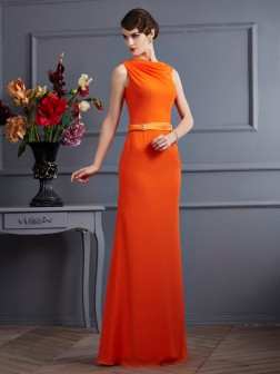 Sheath/Column High Neck Sleeveless Sash/Ribbon/Belt Floor-Length Chiffon Dresses