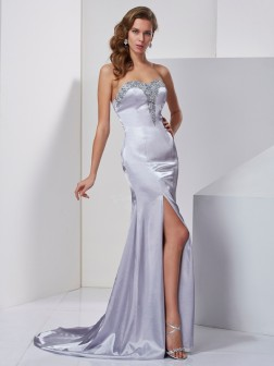 A-Line/Princess Sweetheart Sleeveless Beading Sweep/Brush Train Elastic Woven Satin Dresses