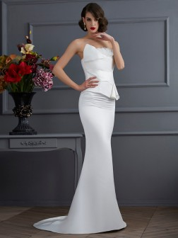 Trumpet/Mermaid Strapless Sleeveless Hand-Made Flower Sweep/Brush Train Satin Dresses