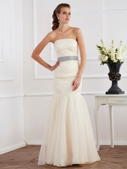 Trumpet/Mermaid Strapless Sleeveless Sash/Ribbon/Belt Floor-Length Organza Dresses