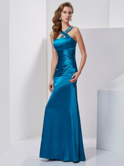Sheath/Column Straps Sleeveless Beading Floor-Length Silk like Satin Dresses