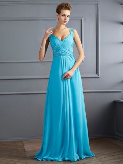 A-Line/Princess Straps Sleeveless Pleats Floor-Length Chiffon Dresses