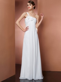 A-Line/Princess One-Shoulder Sleeveless Bowknot Floor-Length Chiffon Dresses