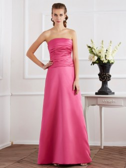 Sheath/Column Strapless Sleeveless Pleats Floor-Length Satin Dresses