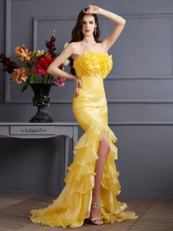 Trumpet/Mermaid Strapless Sleeveless Ruffles Sweep/Brush Train Tulle Dresses