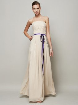 A-Line/Princess Strapless Sleeveless Sash/Ribbon/Belt Floor-Length Chiffon Dresses