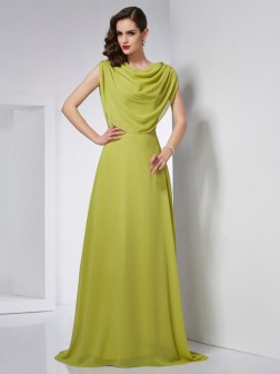 A-Line/Princess High Neck Sleeveless Pleats Sweep/Brush Train Chiffon Dresses