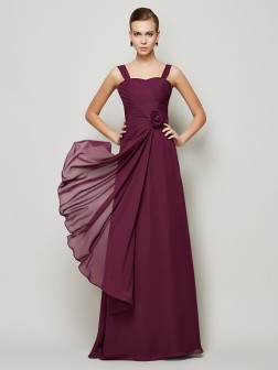 A-Line/Princess Straps Sleeveless Hand-Made Flower Floor-Length Chiffon Dresses