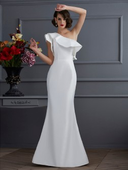 Trumpet/Mermaid One-Shoulder Sleeveless Ruffles Floor-Length Taffeta Dresses
