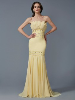 Trumpet/Mermaid Strapless Sleeveless Beading Sweep/Brush Train Chiffon Dresses