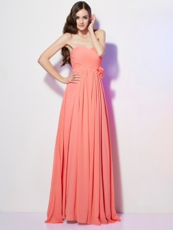 A-Line/Princess Sweetheart Sleeveless Hand-Made Flower Floor-Length Chiffon Dresses