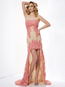 A-Line/Princess Sweetheart Sleeveless Applique Asymmetrical Lace Dresses