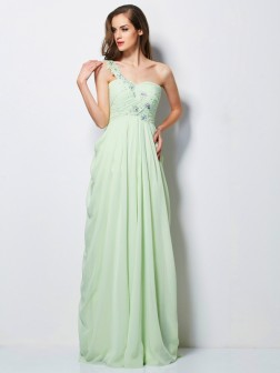 A-Line/Princess One-Shoulder Sleeveless Applique Floor-Length Chiffon Dresses