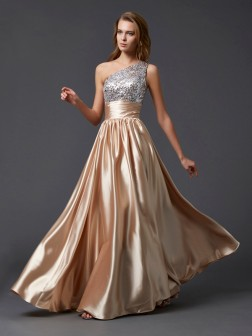 A-Line/Princess One-Shoulder Sleeveless Paillette Floor-Length Elastic Woven Satin Dresses