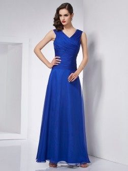 A-Line/Princess V-neck Sleeveless Pleats Ankle-Length Chiffon Dresses