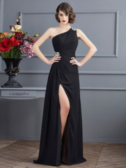 Sheath/Column One-Shoulder Sleeveless Beading Floor-Length Chiffon Dresses