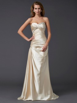 Sheath/Column Sweetheart Sleeveless Beading Sweep/Brush Train Elastic Woven Satin Dresses