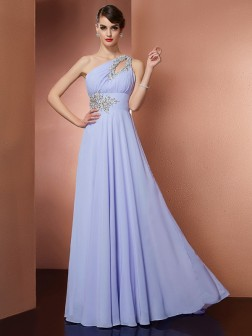 A-Line/Princess One-Shoulder Sleeveless Applique Beading Sweep/Brush Train Chiffon Dresses