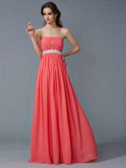 A-Line/Princess Strapless Sleeveless Beading Floor-Length Chiffon Dresses