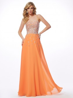 A-Line/Princess Sweetheart Sleeveless Rhinestone Floor-Length Chiffon Dresses