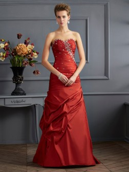 Trumpet/Mermaid Sweetheart Sleeveless Beading Floor-Length Taffeta Dresses