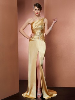 Sheath/Column One-Shoulder Sleeveless Beading Sweep/Brush Train Elastic Woven Satin Dresses