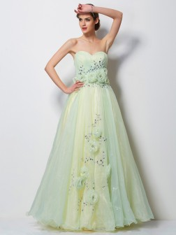 A-Line/Princess Sweetheart Sleeveless Hand-Made Flower Floor-Length Satin Dresses