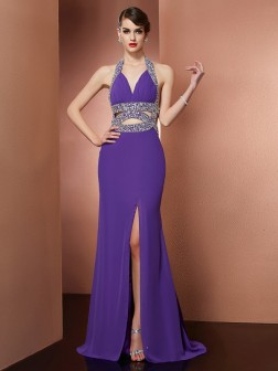 A-Line/Princess Halter Sleeveless Beading Sweep/Brush Train Chiffon Dresses