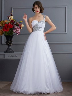 Ball Gown One-Shoulder Sleeveless Beading Floor-Length Elastic Woven Satin Dresses