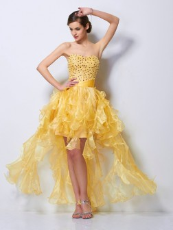 A-Line/Princess Sweetheart Sleeveless Beading Asymmetrical Tulle Cocktail Dresses
