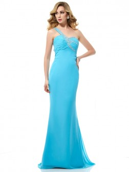 Trumpet/Mermaid One-Shoulder Sleeveless Beading Sweep/Brush Train Chiffon Dresses