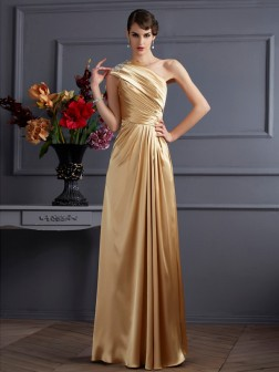 A-Line/Princess One-Shoulder Sleeveless Beading Floor-Length Elastic Woven Satin Dresses
