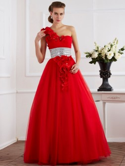 Ball Gown One-Shoulder Sleeveless Hand-Made Flower Floor-Length Net Dresses