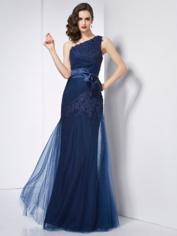 A-Line/Princess One-Shoulder Sleeveless Applique Floor-Length Net Dresses