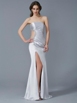 Trumpet/Mermaid Strapless Sleeveless Beading Sweep/Brush Train Elastic Woven Satin Dresses