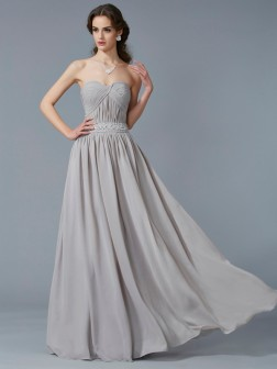 A-Line/Princess Sweetheart Sleeveless Beading Floor-Length Chiffon Dresses