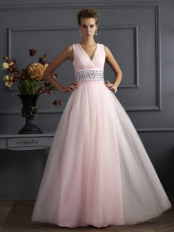 Ball Gown V-neck Sleeveless Beading Floor-Length Net Dresses