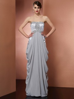 Sheath/Column Strapless Sleeveless Beading Floor-Length Chiffon Dresses