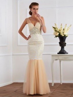 Trumpet/Mermaid Straps Sleeveless Beading Floor-Length Net Dresses