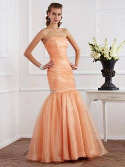 Trumpet/Mermaid Strapless Sleeveless Beading Floor-Length Tulle Dresses